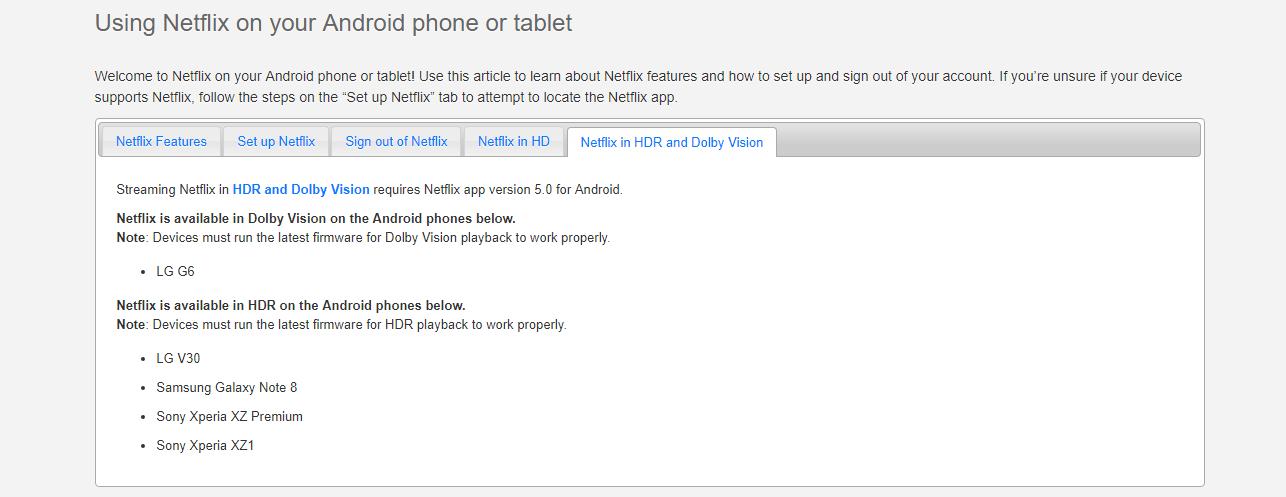 Transmisión de Netflix HDR